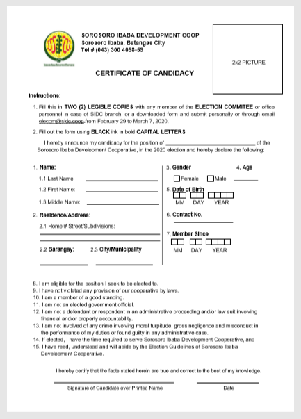 Certificate Of Candidacy